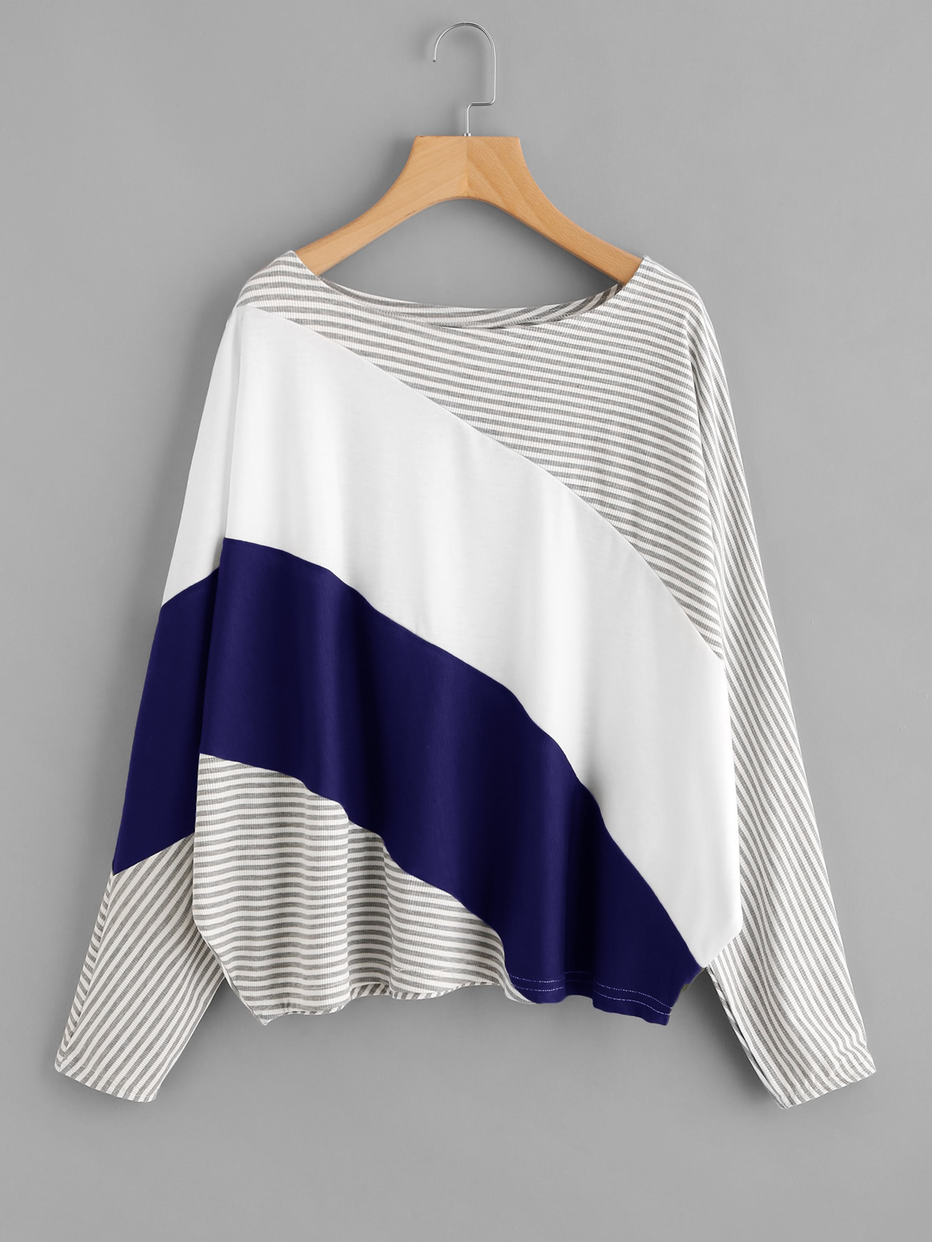 Cut And Sew Striped Batwing Tee striped cut and sew curved hem tee