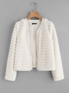 Pearl Beading Textured Faux Fur Coat