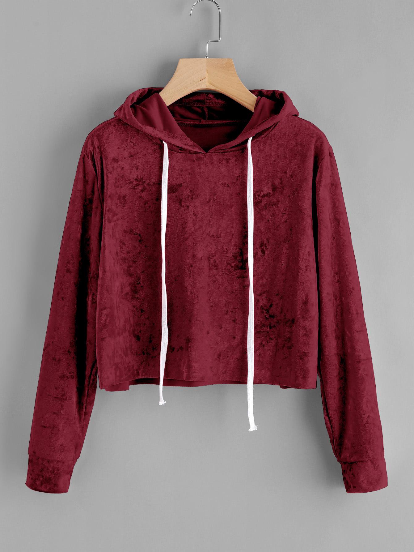 Купить Повседневный Ровный цвет Пуловеры Коричневый Свитшоты, null, SheIn