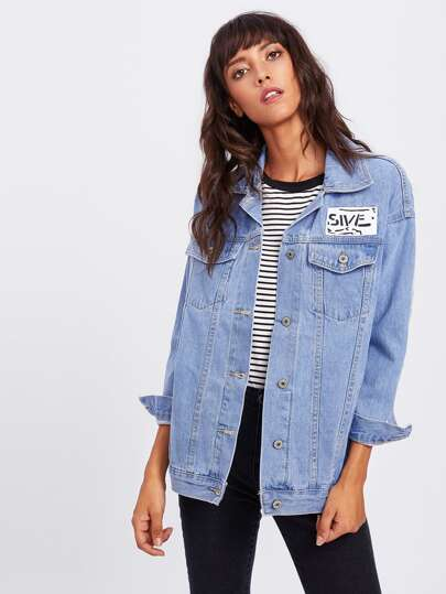 Striped Tape Sleeve Patch Detail Denim Jacket