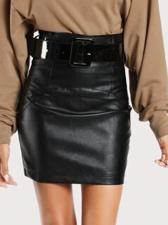 Faux Leather Belted Skirt BLACK