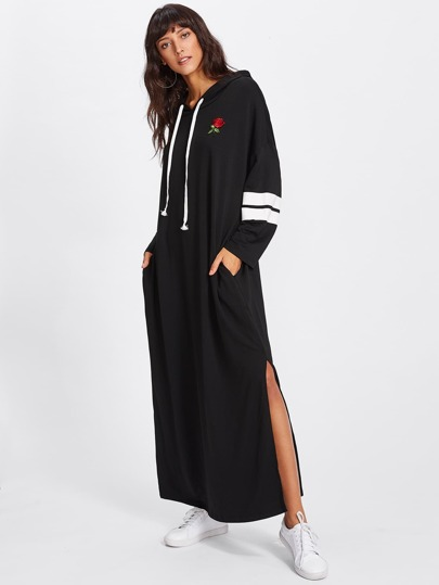 Rose Patch Striped Sleeve Slit Hoodie Dress