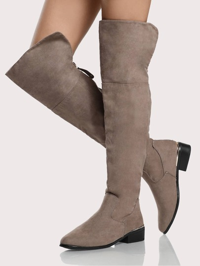 Thigh High Gold Trim Boots TAUPE