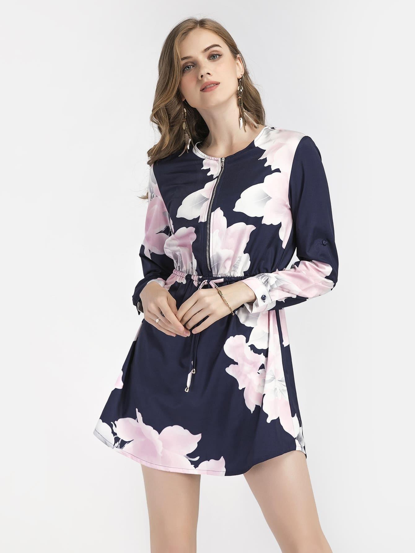 robe avec cordon de taille imprime fleur avec zip avant With affiche chambre bébé avec longue robe fleur