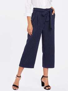 Pinstripe Tie Waist Wide Leg Pants
