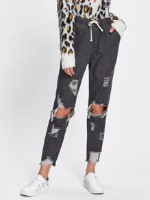 Crop Jeans mit Kordelzug um die Taille