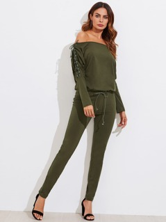 Grommet Lace Up Sleeve Bardot Combo Jumpsuit