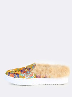 Multi Print Faux Fur Lined Loafer Sneakers YELLOW