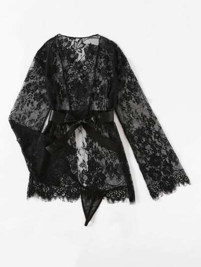 Self Tie Floral Lace Robe Set