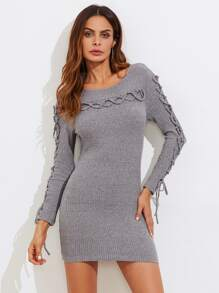 Lace Up Detail Ribbed Knit Dress