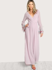 Embroidered Bell Sleeve Surplice Wrap Jumpsuit