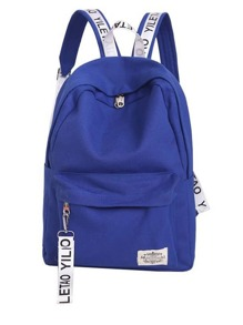 Patch Detail Letter Print Canvas Backpack