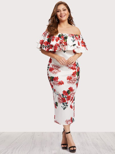 Off Shoulder Floral Print Tiered Dress