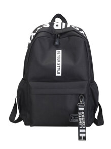 Letter Detail Strap Front Backpack