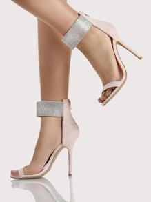 Diamond Ankle Strap Heels NUDE