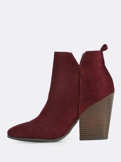 Faux Suede Wood Block Heel Boots VINO