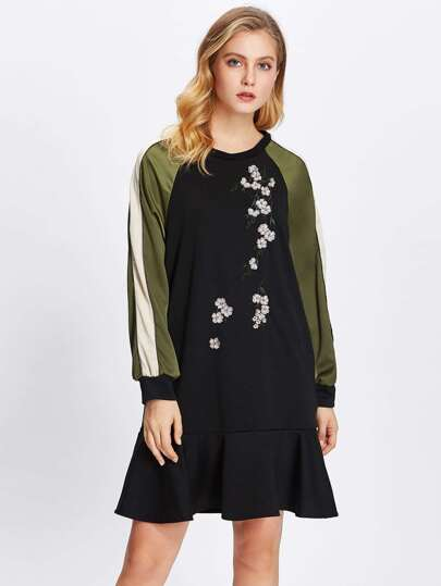 Cut And Sew Raglan Sleeve Embroidered Ruffle Dress