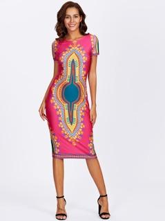 Ornate Print Form Fitting Dress