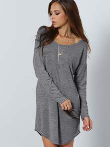 V Cut Back Curved Hem Dress