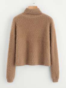 Rolled Neck Fuzzy Jumper