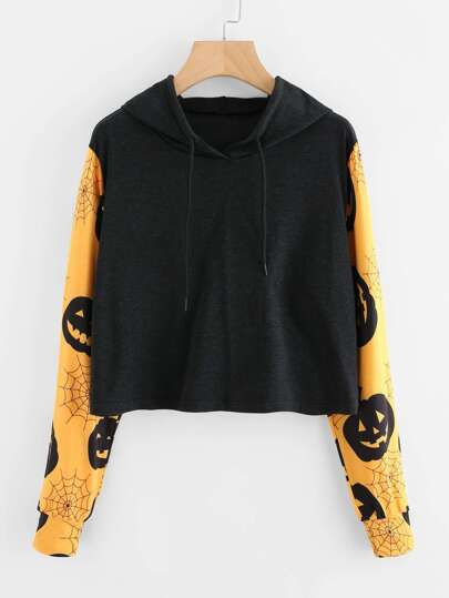 Halloween Print Sleeve Hooded Sweatshirt