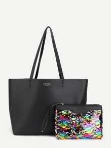 PU Tote Bag With Sequin Clutch