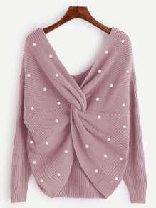 Pearl Beading Twist Infinity Sweater