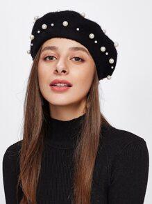 Faux Pearl Beret Hat