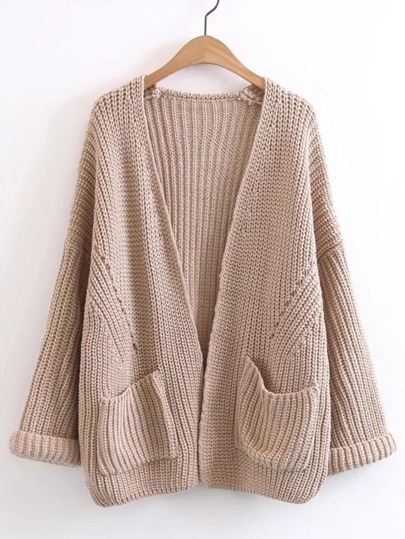 Rolled Cuff Open Front Cardigan