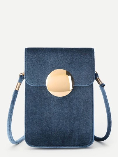 Round Magnetic Button PVC Pouch Bag