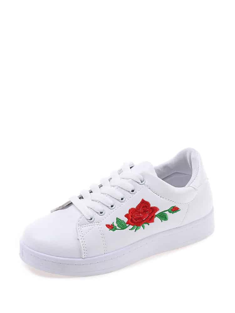 Цветок Вышивка Кружево Вверх Кеды