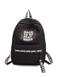 Letter Print Zipper Front Backpack