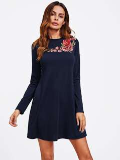 Flower Embroidery Applique Swing Tee Dress