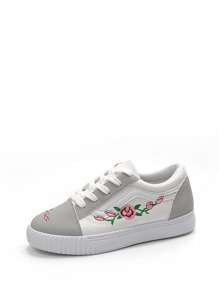 Flower Embroidery Two Tone Lace Up Sneakers