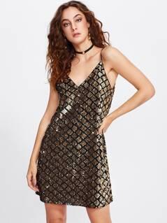 Dual V Neck Metallic Sequin Cami Dress