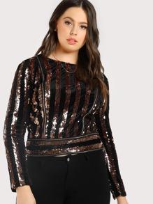 Sequin Striped Zip Up Top BLACK