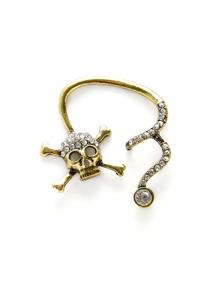 Rhinestone Skeleton Design Ear Crawler 1pc