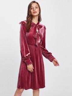 Bow Tie Front Frill Detail Velvet Dress