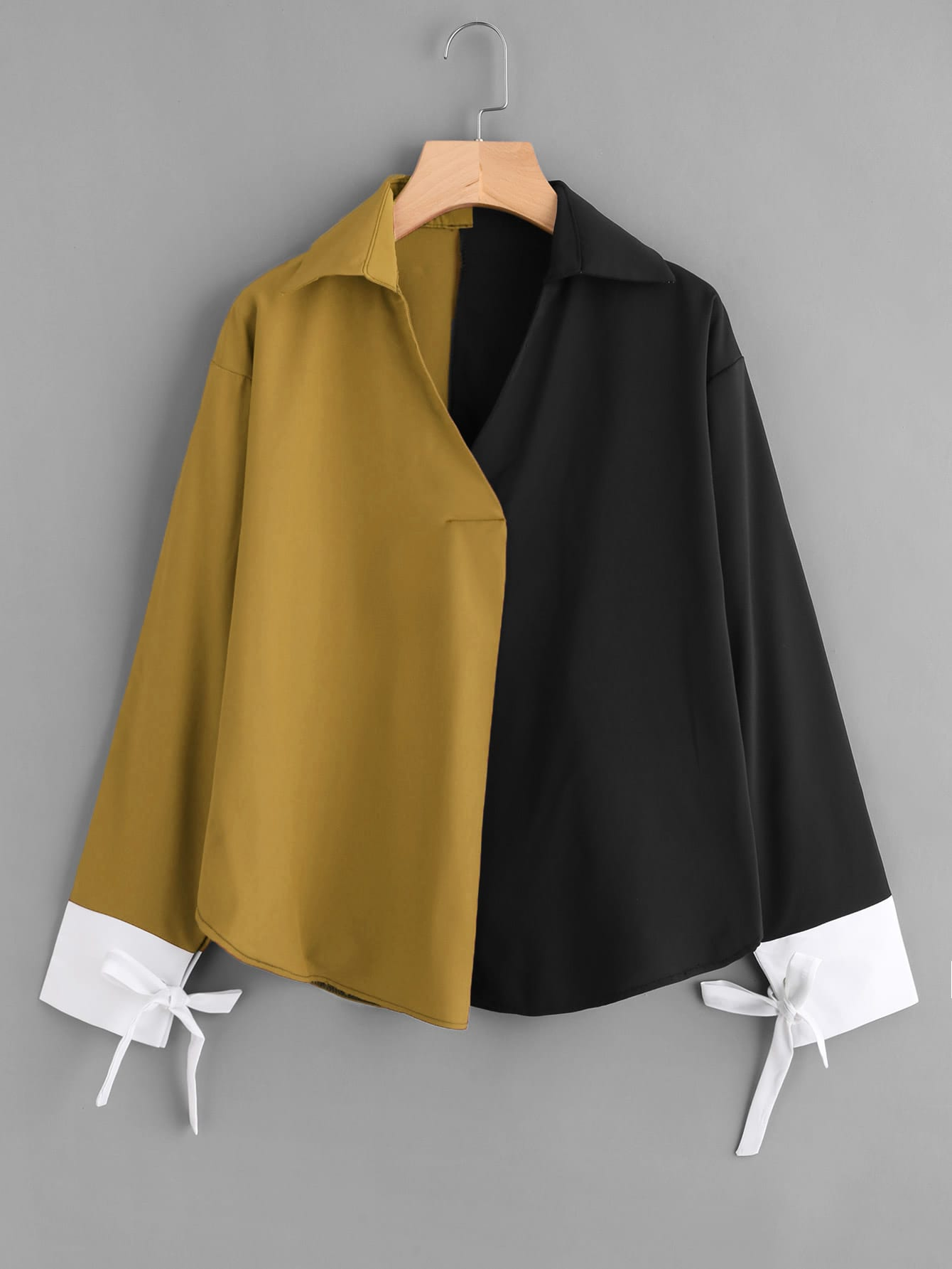 Color Block Contrast Cuff Tie Blouse tie cuff button front blouse