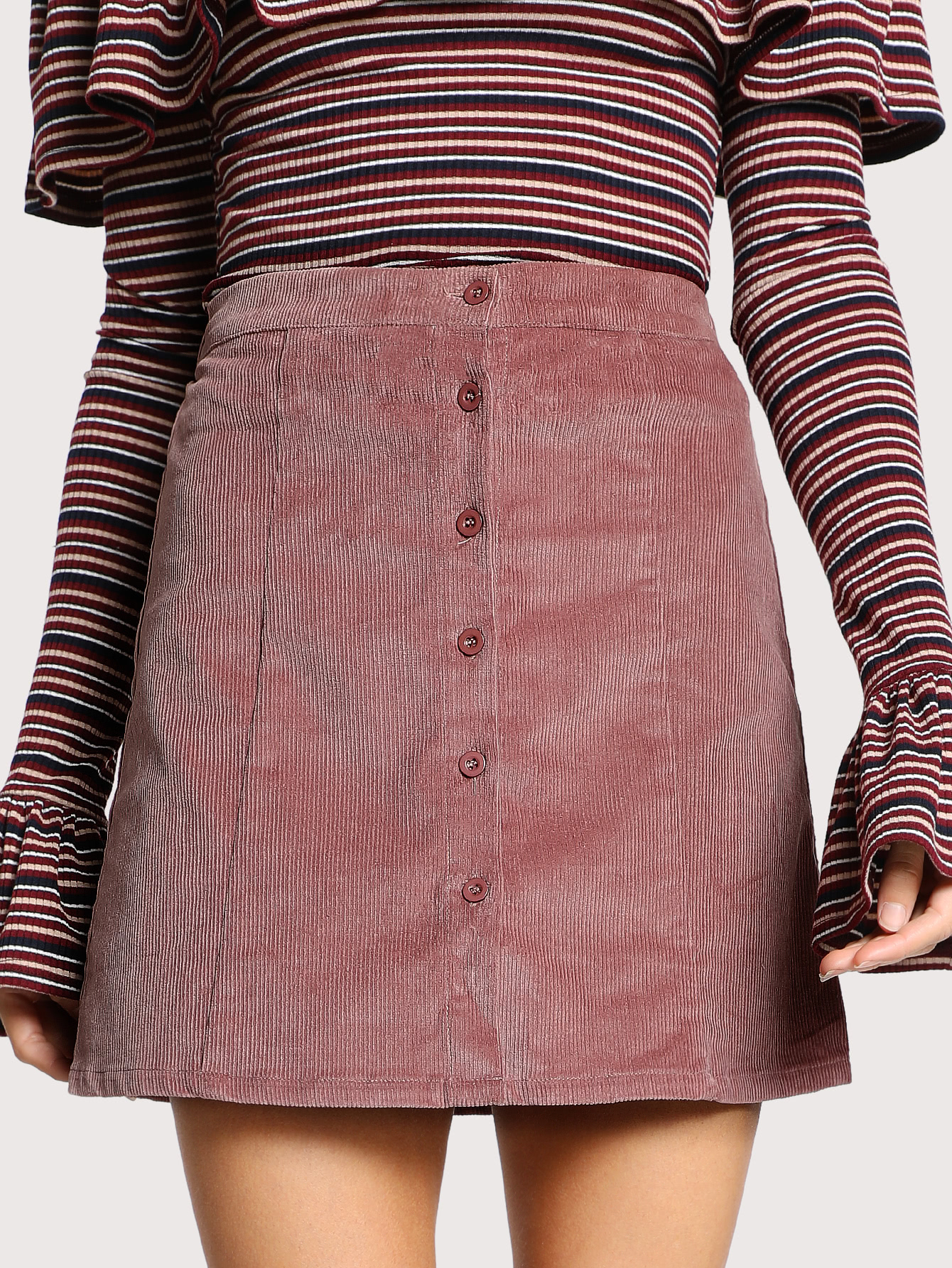 Button Down Cord Skirt