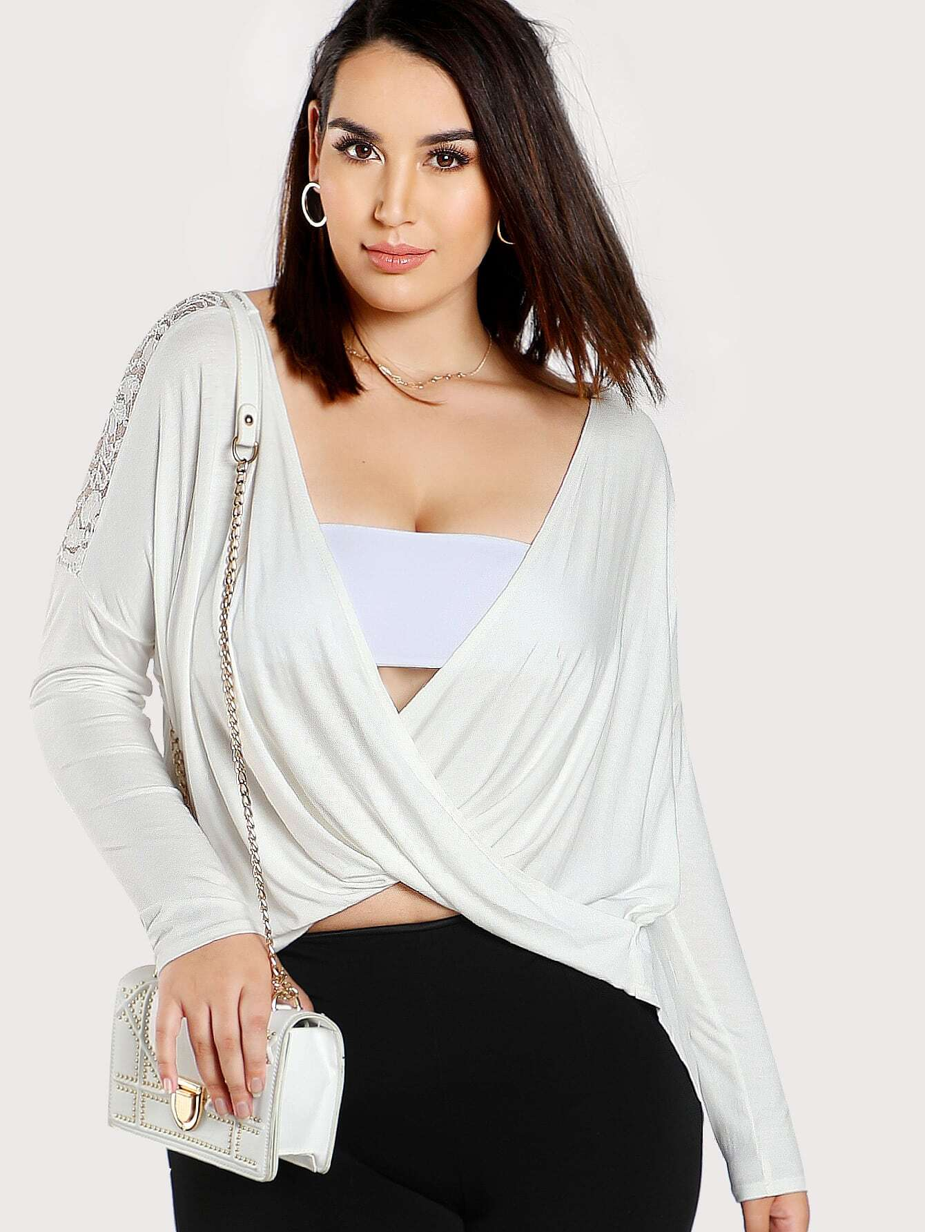 Lace Panel Twist Wrap Top