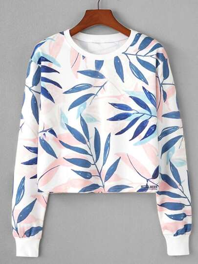 Sweat-shirt imprimé feuille