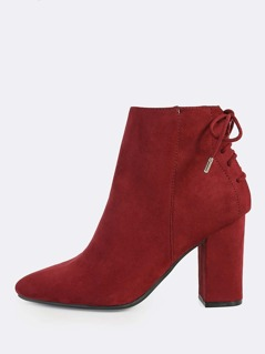 Lace Up Point Toe Booties BURGUNDY