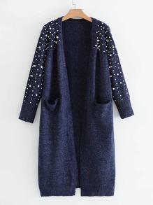 Faux Pearl Detail Space Dye Cardigan