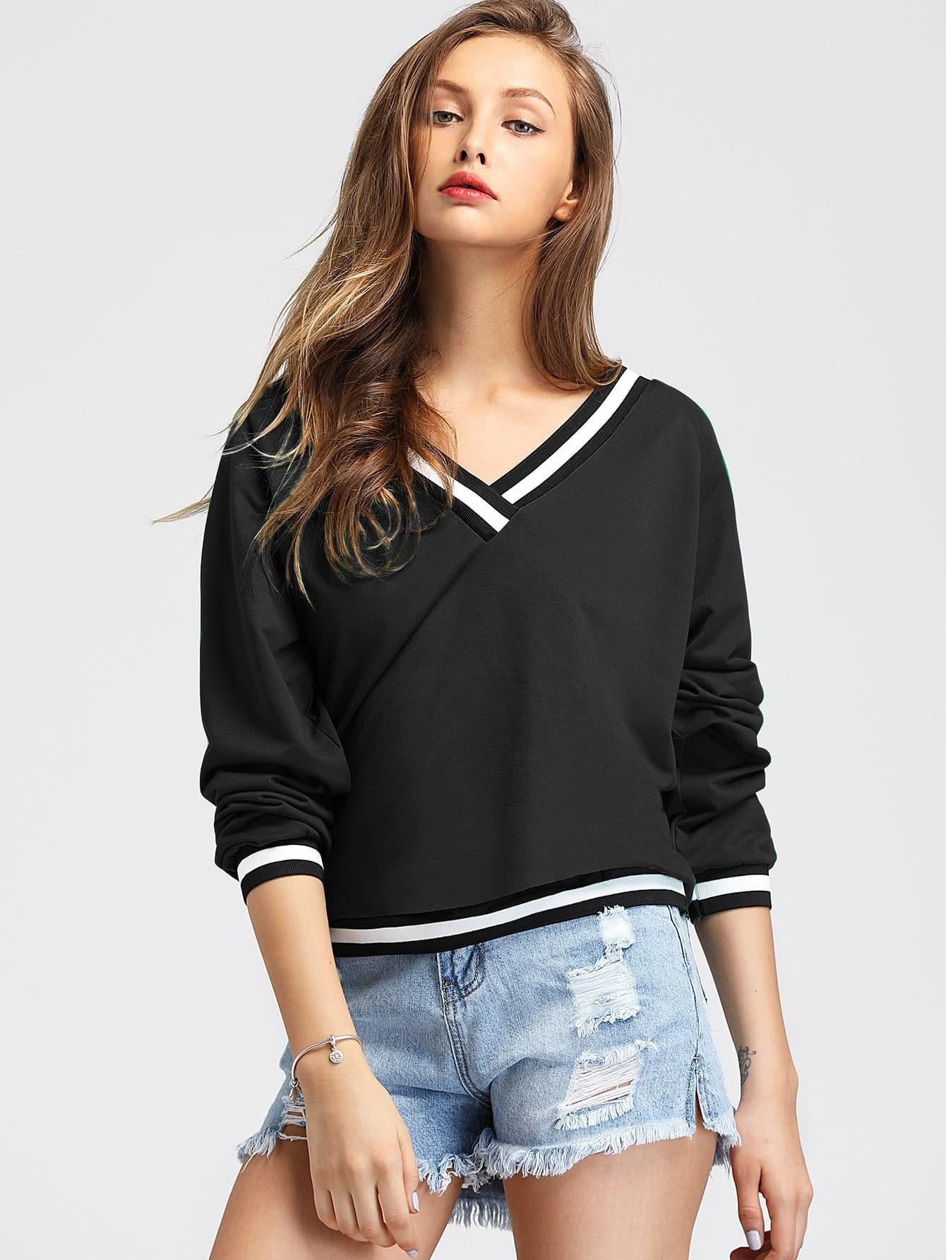 Contrast Striped Trim V-neckline Sweatshirt v neckline drop shoulder lantern sleeve sweatshirt