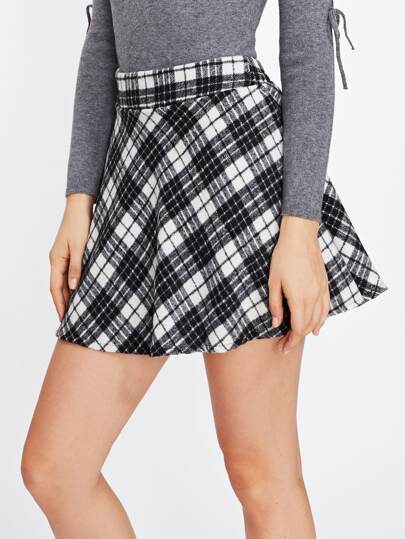 Elastic Waist Back Checked Skirt