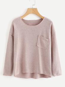 Drop Shoulder Chest Pocket Knit Sweater
