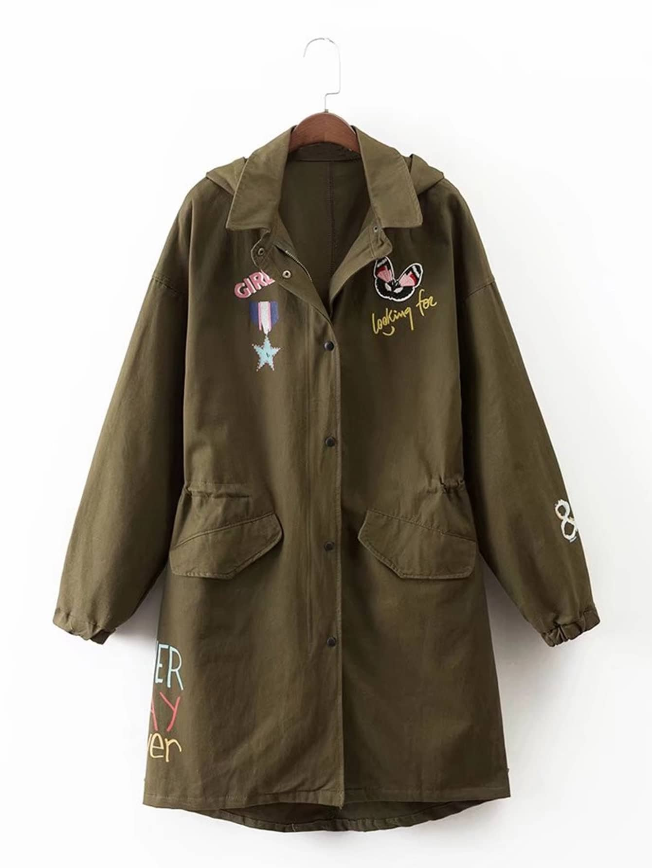 Embroidery detail hooded military jacket shein sheinside