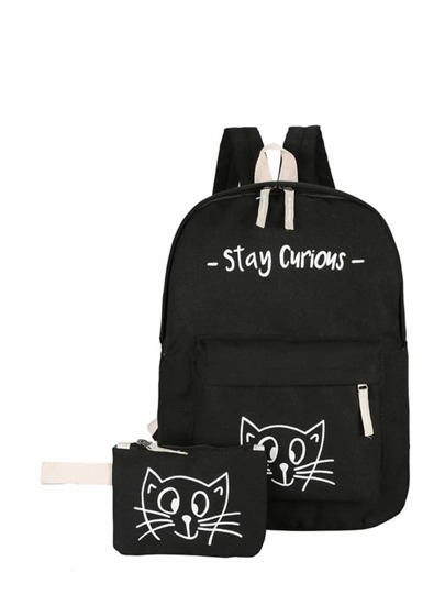 Cat Pattern Canvas Backpack With Clutch Bag