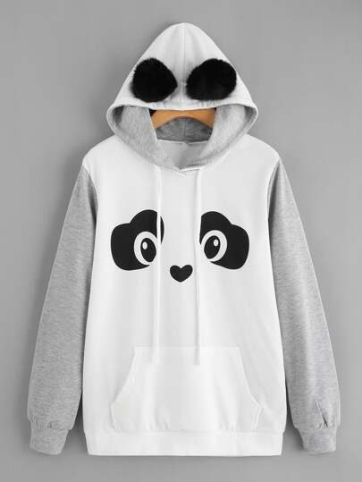 Panda Hoodie With Faux Fur Ball